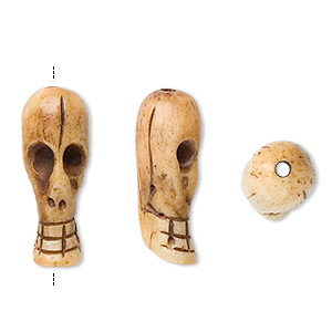 bead, bone (dyed), antiqued, 22x9mm hand-carved long skull, mohs hardness 2-1/2. sold per pkg of 4.