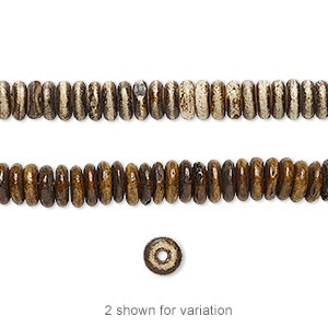 bead, bone (dyed), antiqued brown and cream, 5x2mm rondelle, mohs hardness 2-1/2. sold per 16-inch strand.