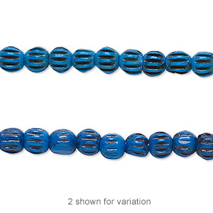 bead, bone (dyed), blue and black, 5x4mm corrugated barrel. sold per 16-inch strand.