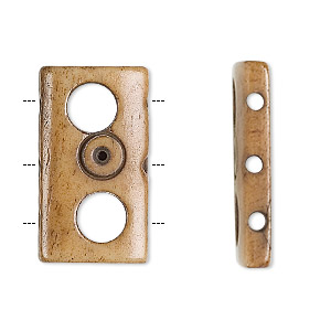 bead, bone (dyed), brown, 26x15mm triple-drilled carved rectangle. sold per pkg of 6.