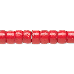 bead, bone (dyed), red, 7x5mm heishi. sold per pkg of 50.
