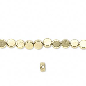 bead, brass, 4mm flat round. sold per 16-inch strand.