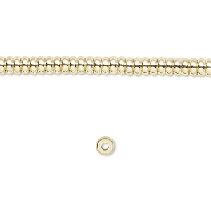 bead, brass, 4x2mm rondelle. sold per 16-inch strand.