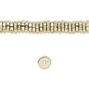 bead, brass-finished pewter (zinc-based alloy), 6x2mm rough rondelle. sold per 16-inch strand.