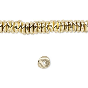 bead, brass-finished pewter (zinc-based alloy), small chip. sold per 16-inch strand.