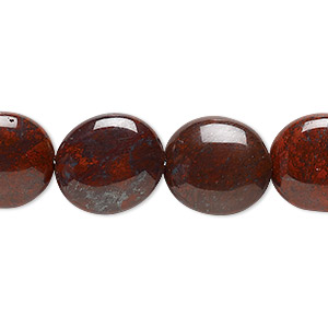 bead, brecciated jasper (natural), 16x14mm flat oval, b grade, mohs hardness 6-1/2 to 7. sold per 16-inch strand.