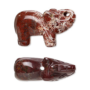 bead, brecciated jasper (natural), 30x19mm hand-carved elephant, b grade, mohs hardness 6-1/2 to 7. sold per pkg of 2.