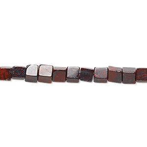 bead, brecciated jasper (natural), 4x4mm cube, b grade, mohs hardness 6-1/2 to 7. sold per 16-inch strand.