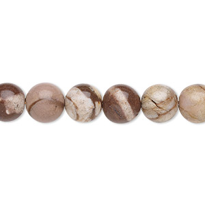bead, bronze zebra jasper (natural), 8mm round, b grade, mohs hardness 6-1/2 to 7. sold per 16-inch strand.