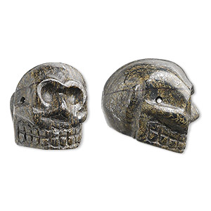 bead, bronzite (natural), 25x21mm hand-cut skull, c grade, mohs hardness 5 to 6. sold per pkg of 2.