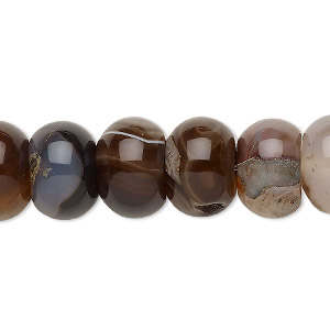 bead, brown agate (dyed / heated), 13x10mm-14x11mm rondelle, c grade, mohs hardness 6-1/2 to 7. sold per 15-inch strand.