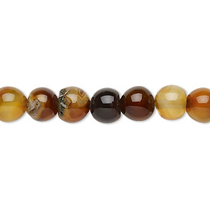 bead, brown agate (dyed / heated), 7-8mm round, c grade, mohs hardness 6-1/2 to 7. sold per 15-inch strand.