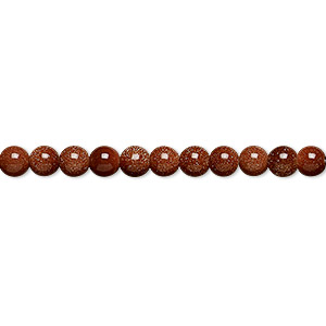 bead, brown goldstone (man-made), 4mm round. sold per 16-inch strand.