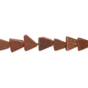 bead, brown goldstone (man-made), 5x5x5mm-9x9x9mm graduated hand-cut flat triangle. sold per 14-inch strand.