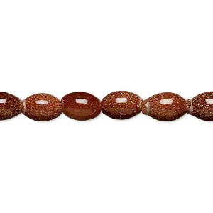 bead, brown goldstone (man-made), 8x6mm oval. sold per 16-inch strand.
