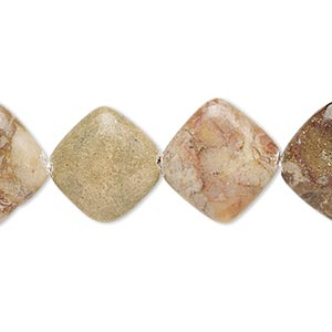 bead, brown marble (natural), 15x15mm-17x17mm rounded flat diamond, c+ grade, mohs hardness 3. sold per 15-inch strand.