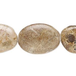 bead, brown marble (natural), 24x17mm-25x18mm puffed oval, c grade, mohs hardness 3. sold per 15-inch strand.