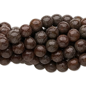 bead, brown snowflake jasper (natural), 6mm round, c grade, mohs hardness 6-1/2 to 7. sold per pkg of (10) 16-inch strands.