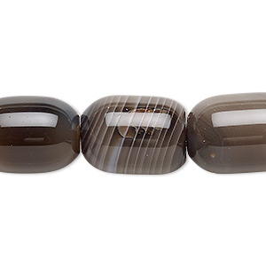 bead, brown striped agate (dyed), dark, 17x13mm-18x13mm barrel, b- grade, mohs hardness 6-1/2 to 7. sold per 15-inch strand.