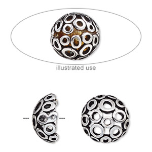 bead cage, antique silver-plated pewter (zinc-based alloy), 14mm round with circle cutout design, fits up to 10mm bead. sold per 2-piece set.