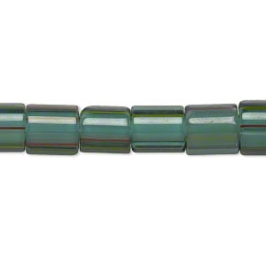 bead, cane glass, multicolored, 8x7mm-9x8mm round tube with stripes. sold per 15-inch strand.