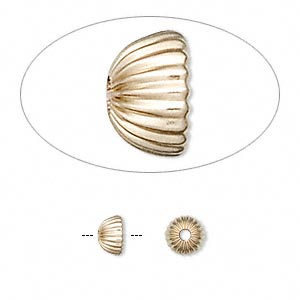 bead cap, 14kt gold-filled, 6.5x3.5mm corrugated round, fits 5-7mm bead. sold per pkg of 4.