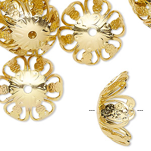 bead cap, anodized aluminum, gold, 20x11mm round with flower and cutout design, fits 18-20mm bead. sold per pkg of 24.