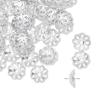 bead cap, anodized aluminum, silver, 9mm flower, fits 7mm bead. sold per pkg of 100.