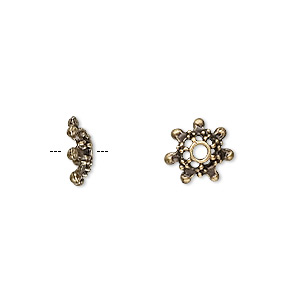 bead cap, antique brass-plated pewter (zinc-based alloy), 9x3mm star, fits 6-7mm bead. sold per pkg of 100.