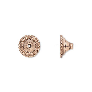 bead cap, antique copper-plated pewter (tin-based alloy), 11x6mm round with rope edge, fits 10-12mm bead. sold per pkg of 10.