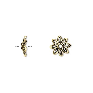 bead cap, antique gold-finished pewter (zinc-based alloy), 10x2.5mm flower, fits 10-14mm bead. sold per pkg of 20.