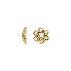 bead cap, antique gold-finished pewter (zinc-based alloy), 10x3mm flower, fits 8-14mm bead. sold per pkg of 50.