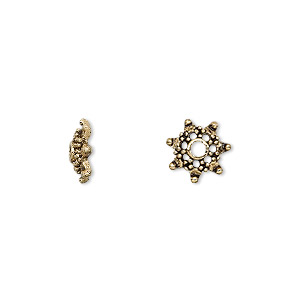 bead cap, antique gold-finished pewter (zinc-based alloy), 10x3mm snowflake, fits 8-12mm bead. sold per pkg of 24.