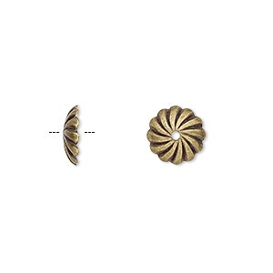 bead cap, antique gold-plated brass, 10x2.5mm round with swirl design, fits 10mm bead. sold per pkg of 10.