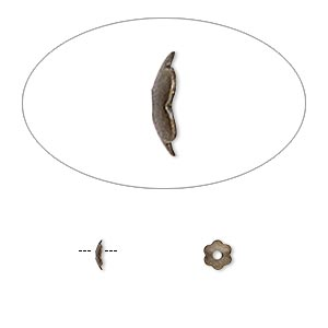 bead cap, antique gold-plated brass, 4x1mm scalloped round, fits 4-6mm bead. sold per pkg of 100.