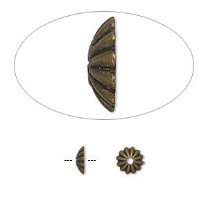 bead cap, antique gold-plated brass, 6x2mm ribbed round, fits 6-8mm bead. sold per pkg of 100.