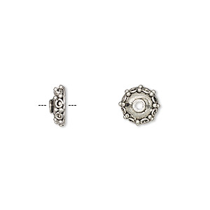bead cap, antique silver-finished pewter (zinc-based alloy), 8x3.5mm fancy round, fits 6-10mm bead. sold per pkg of 24.