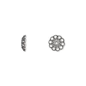 bead cap, antique silver-plated brass, 8x2mm fancy round with cutouts, fits 8-10mm bead. sold per pkg of 500.