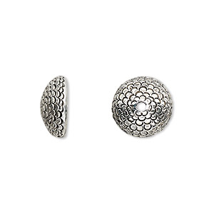 bead cap, antique silver-plated pewter (tin-based alloy), 12.5x5mm textured round, fits 10-12mm bead. sold per pkg of 2.