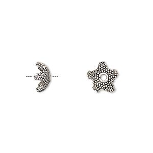 bead cap, antique silver-plated pewter (tin-based alloy), 8.5x3.5mm beaded star, fits 6-8mm bead. sold per pkg of 4.