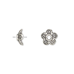bead cap, antique silver-plated pewter (zinc-based alloy), 10x3mm flower, for 10-14mm bead. sold per pkg of 500.