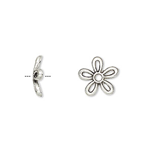 bead cap, antique silver-plated pewter (zinc-based alloy), 11x2mm flower, fits 8-16mm bead. sold per pkg of 50.
