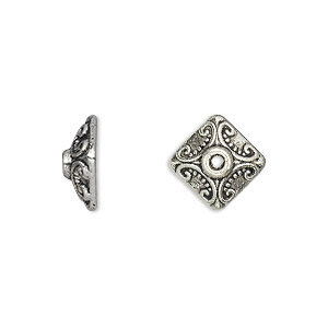 bead cap, antique silver-plated pewter (zinc-based alloy), 11x5mm square, fits 8-12mm bead. sold per pkg of 20.