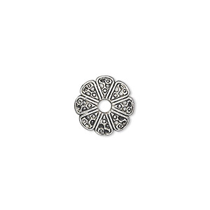 bead cap, antique silver-plated pewter (zinc-based alloy), 12x2mm filigree round, fits 10-18mm bead. sold per pkg of 50.