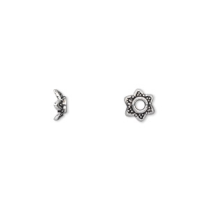 bead cap, antique silver-plated pewter (zinc-based alloy), 7x3mm star, fits 6-8mm bead. sold per pkg of 100.