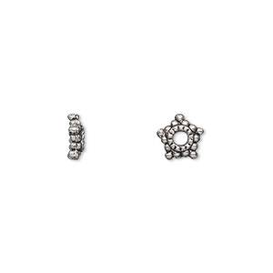 bead cap, antique silver-plated pewter (zinc-based alloy), 8x2mm star, for 6-12mm bead. sold per pkg of 500.