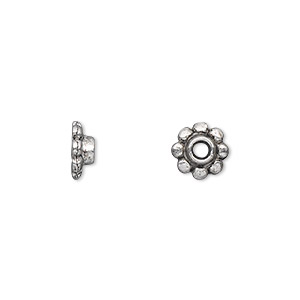bead cap, antique silver-plated pewter (zinc-based alloy), 8x3mm scalloped round, for 6-12mm bead. sold per pkg of 500.