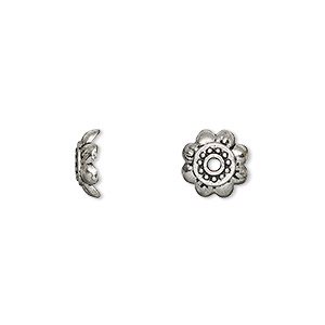 bead cap, antique silver-plated pewter (zinc-based alloy), 9x3mm flower, fits 8-14mm bead. sold per pkg of 50.