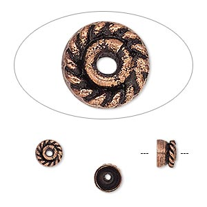 bead cap, antiqued copper, 6x4mm round, fits 6-7mm bead. sold per pkg of 30.