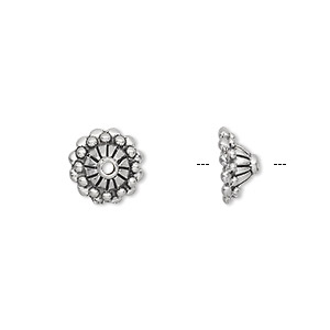 bead cap, antiqued pewter (tin-based alloy), 10x5mm beaded round with line design, fits 8-10mm bead. sold per pkg of 10.